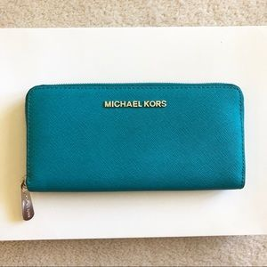 NEW Michael Kors Turquoise Saffiano Leather Wallet